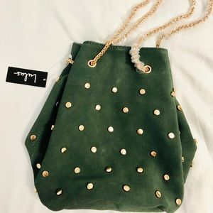 NWT Lulu's green suede, gold studded bucket bag